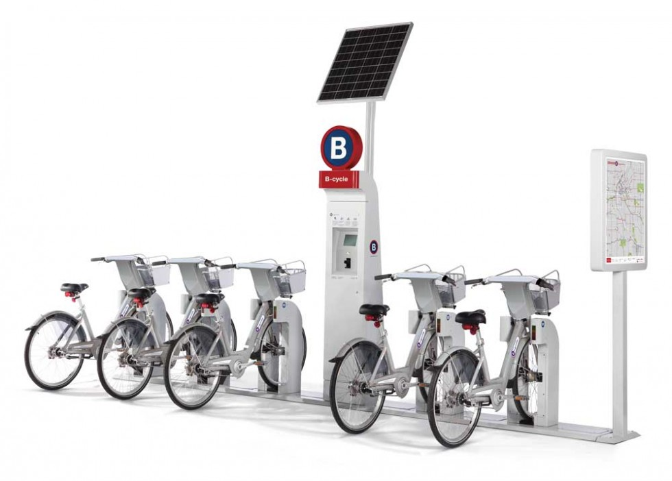 Photo of B-cycle bike-share station and bikes