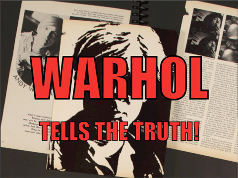 Still image from a web video by Aaron Jentzen, featuring images from Andy Warhol's scrapbooks and commentary by Matt Wrbican, Chief Archivist at the Andy Warhol Museum.